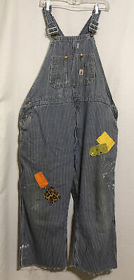 AU82.89 • Buy True Vtg 60s 70s STRIPED DENIM RODEO CLOWN ROUNDHOUSE TRASHED OVERALLS BIBS 44