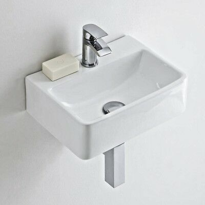 £49.99 • Buy Compact Square Cloakroom Bathroom Basin Sink Counter Top Wall Hung 400*300*115
