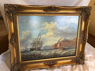 Ornate Swept Picture Frame In Antique Gold With Sea Scape Picture • 24.99£