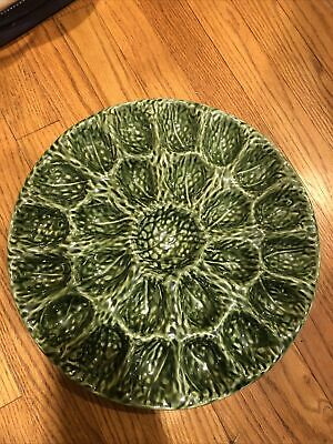 Olfaire Portugal Green Cabbage Majolica Deviled Egg Serving Plate  • 22.89£