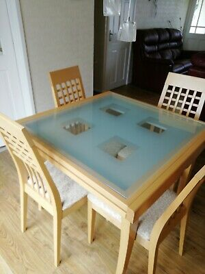 £40 • Buy Calligaris Glass Extending Dining Table And 4 Chairs