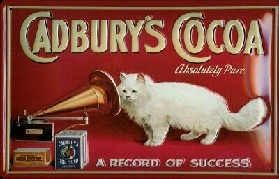 £14.95 • Buy CADBURY'S COCOA GRAMOPHONE CAT PURE EMBOSSED METAL ADVERTISING SIGN 30x20cm
