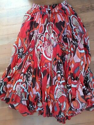 Red Hippy Style Flared Skirt Size Small • 4£