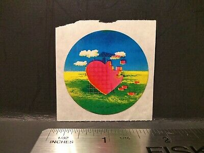AU7.42 • Buy Vintage Stickers 80s HEART CLOUDS Sticker Mod RARE HTF Glossy