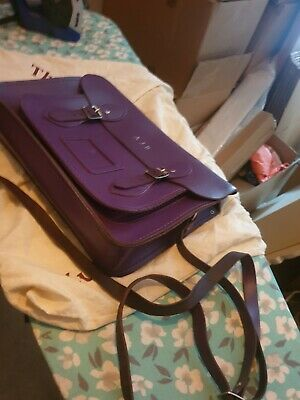 £19.99 • Buy Original  Large Cambridge Satchel Company Purple Leather  Signs Of Wear See Pics
