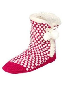 £14.99 • Buy M&s Pink Heart Print Chunky Knit Faux Fur Trim Lined Slipper Boots S/m Size 3-5