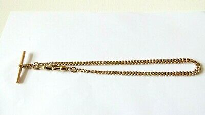 £950 • Buy Vintage 9ct Rose Gold Graduated Curb Link Albert Chain With Attached T-Bar 33.8g