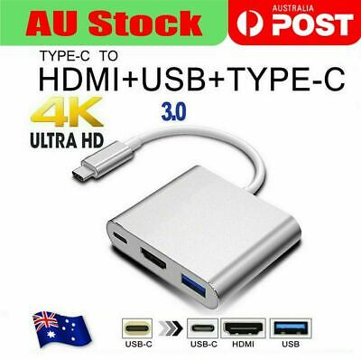 AU14.49 • Buy Type C To USB-C HDMI USB 3.0 Adapter Converter Cable 3 In 1 Hub For MacBook Pro
