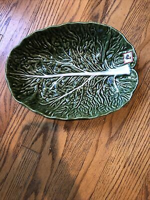 £24.13 • Buy Large Green Handmade Cabbage Leaf Fruit Salad Centerpiece Serving Bowl Portugal