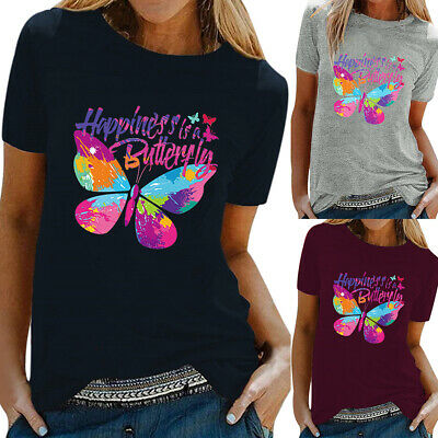 £9.49 • Buy Womens Ladies Butterfly Print T-shirt Short Sleeve Tee Summer Casual Blouse Tops
