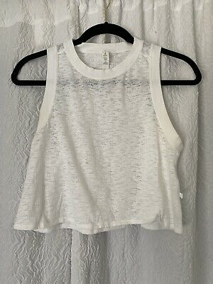 $ CDN6.65 • Buy Lululemon Crop Muscle Tank Top Sz 4 Burnout White Yoga Fitness