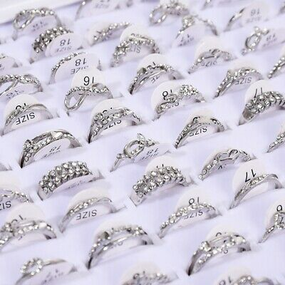 $ CDN13.29 • Buy 50 Pcs Wholesale Mixed Lots Jewelry Sliver Resale Zirconia Stainless Steel Rings