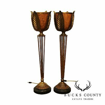 $1195 • Buy Maitland Smith Art Deco Style Pair Tall Torchier Table Lamps
