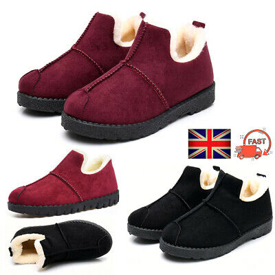 £9.99 • Buy Womens Ladies Flat Fur Lined Booties Indoor Ankle Boots Slippers House Shoes