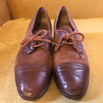 AU27.18 • Buy Vintage Ladies Shoes 30s/40s Suede And Leather Brown Lace Up Shoes Size 6