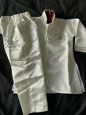 £8 • Buy Boys Indian Sherwani - White With Silver Embroidery - Age 1-2