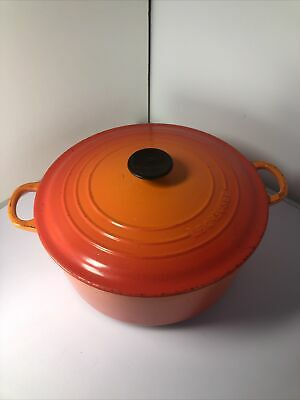 £90 • Buy LE CREUSET (28cm)  CAST IRON ROUND VOLCANIC ORANGE CASSEROLE PAN DISH WITH LID