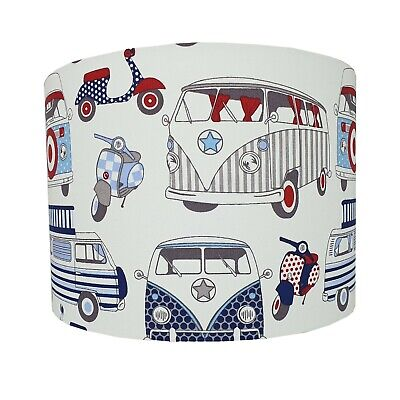 £37 • Buy Lampshade Handmade Happy Campervans & Scooters Fabric * FREE DELIVERY