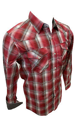 $27.99 • Buy Mens RODEO WESTERN RED WHITE PLAID POCKETS Long Sleeve SNAP UP Shirt Cowboy 448