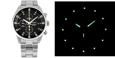 $ CDN217.66 • Buy New Seiko Watch Chronograph Quartz 41mm Hardlex Crystal W/ Box & Warranty Card