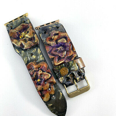 $ CDN16.32 • Buy Handmade Genuine Leather Apple Watch Band, Floral 38mm, 40mm, 42,mm 44 Mm