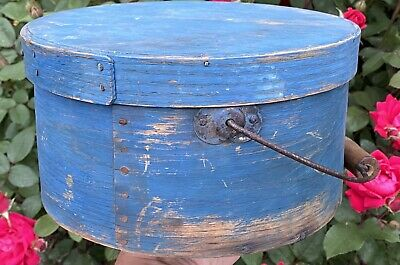 """$ CDN785.97 • Buy Early 1800's Antique Exceptional Blue Pantry Box 9"""" Original Paint W/ Handle"""