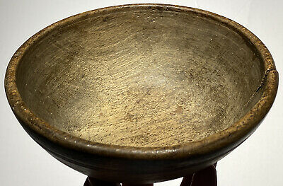 """$ CDN302.29 • Buy Early Antique 1800s Primitive Miniature 6"""" Wooden Treen Bowl Rim And Foot Nice!"""