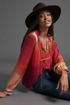 $ CDN169.84 • Buy NWT Anthropologie Conditions Apply Etienne Peasant Blouse Raspberry XL