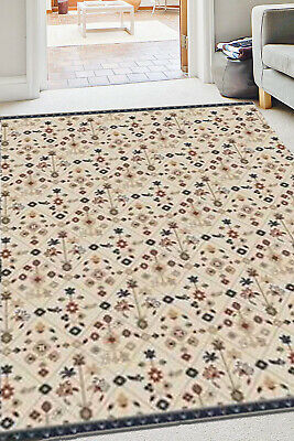 £29.66 • Buy Neutral Living Room Rug Natural Floral Transitional Area Rug Classic Hearth Rug