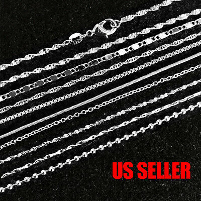 $0.99 • Buy 925 Sterling Silver Plated 9 Styles Snake Chain Necklace 1mm 16  18  20  22  24
