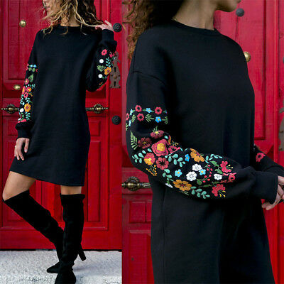 AU17.85 • Buy Womens Floral Long Sleeve Casual Baggy Winter Pullover Jumper Shirt Mini Dress