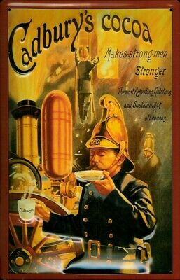 £14.95 • Buy CADBURY'S COCOA FIREMAN MAKES STRONG MEN EMBOSSED METAL ADVERTISING SIGN 30x20cm