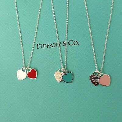 £39.69 • Buy Return To Tiffany & Co Double Heart Pendant 925 Sterling Silver Necklace Chain