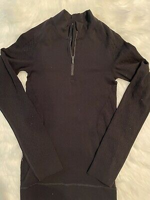 $ CDN35.18 • Buy Lululemon BLACK EUC Size 4 Half Zip Long Sleeve