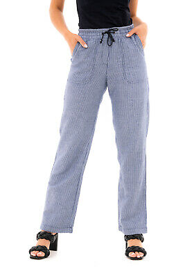 £9.99 • Buy Ladies Ex UK Store Linen Blend Summer Trousers Striped Tracksuit Bottoms Size