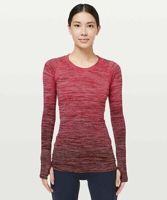 $ CDN54.58 • Buy Lululemon Sz 12 Swiftly Tech Long Sleeve Crew Red Alert / White / Ombré