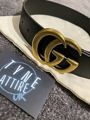 AU481.83 • Buy GUCCI WOMENS DOUBLE GG GOLD BUCKLE AUTHENTIC BLACK LEATHER MARMONT BELT 70cm/6-8