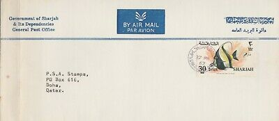 $ CDN12.12 • Buy Sharjah 1967 Cover To Doha Qatar With Arrival Backstamp Fish Revalued 30 Dirham