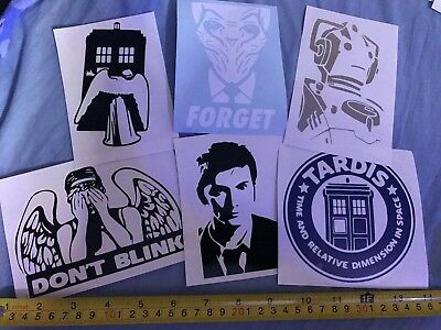 £5.75 • Buy Car Window, Laptop Decals - Dr Who Set Of 6 Vinyl Stickers, Wall, Bumper, Glass