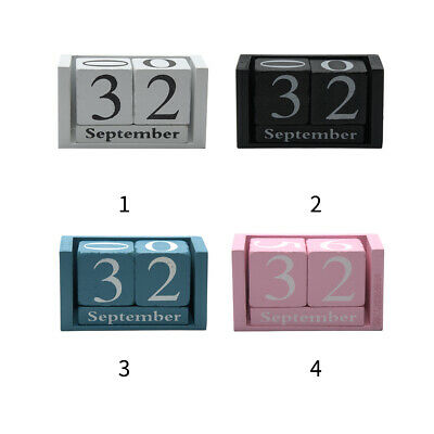 £8.47 • Buy Wooden Perpetual Calendar Rotating Blocks Date Month Day Desk Office Decor