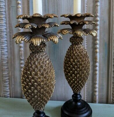 £33 • Buy New Vintage French Style Shabby Chic GOLD PINEAPPLE Candlestick Candle Holder