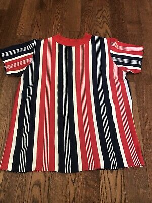 $ CDN54.59 • Buy Vintage 60's 70's Red White Blue Striped T-shirt - Medium