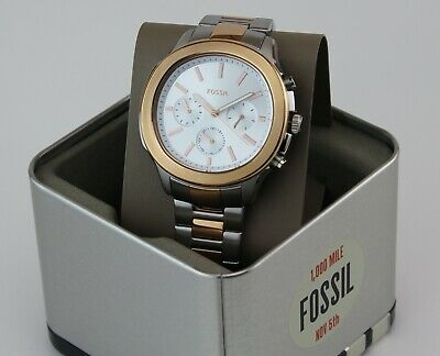$ CDN112.04 • Buy New Authentic Fossil Windfield Chronograph Rose Gold Silver Bq2591 Men's Watch