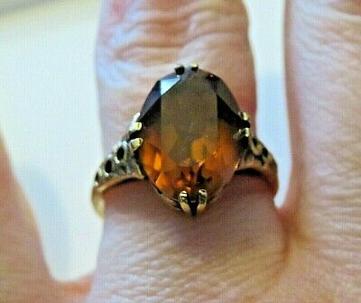 £18 • Buy Vintage Gold Over Silver Oval Cut Madeira Citrine Solitaire Ring   Size P