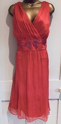 £9.99 • Buy MONSOON Coral Silk Beaded Occasion Dress Size 22 Wedding Party Summer Chiffon