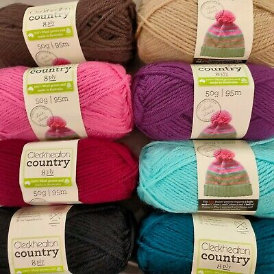 AU4.95 • Buy Cleckheaton Country 8 Ply 100% Pure Wool 46 COLOURS Knitting Yarn Australia Made