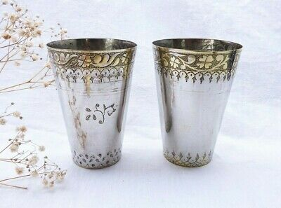 £89 • Buy Antique Pair Middle Eastern Lassi Cups, Silver Plated On Spun Brass, Hand Etched
