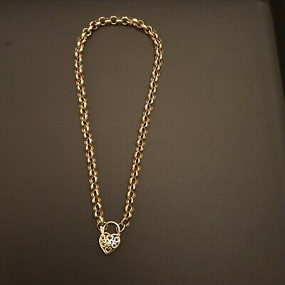 AU550 • Buy 9k Solid Yellow GOLD BELCHER LINK CHAIN / NECKLACE & Heart Padlock With Diamond