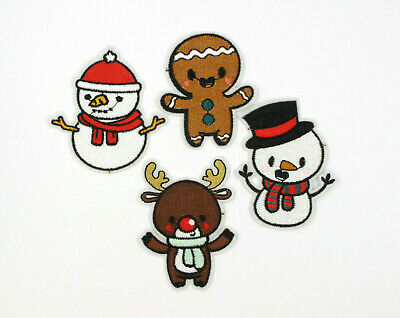 £2.39 • Buy SNOWMAN REINDEER GINGERBREAD MAN Embroidered Iron Sew On Patches CHRISTMAS
