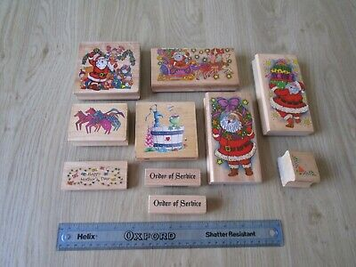 £4.99 • Buy Bundle Of Wooden Rubber Craft Stamps Christmas & Mother Day For Card Making